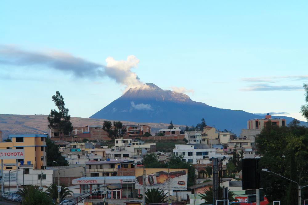 Riobamba with Mt. Chimborazo in the background