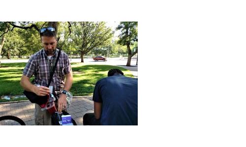 CU Nursing's Scott Harpin preps a shot in Civic Center Park.